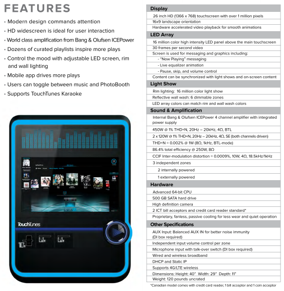 TouchTunes Virtuo Jukebox - Lucky Coin Inc